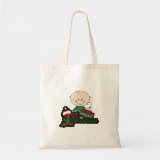 Cute Stick Figure Baby First Christmas. Canvas Bags