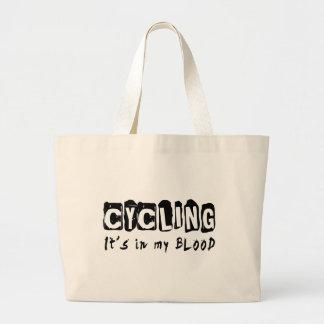 Cycling It's in my blood Canvas Bags