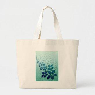 Dark blue floral pattern on turquoise background bag