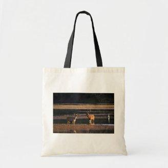 Deer and stag in water tote bags
