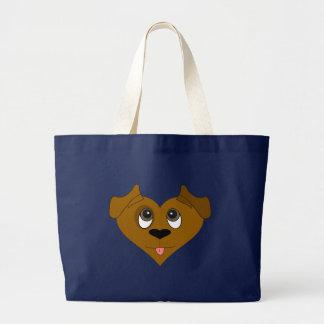 Dog Heart Face Tote Bags