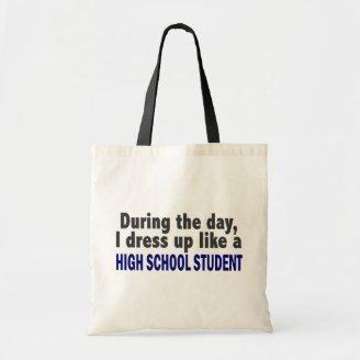 During The Day I Dress Up Like High School Student Canvas Bag