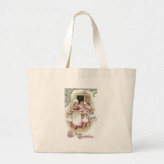Eager for Plum Pudding Vintage Christmas Tote Bags