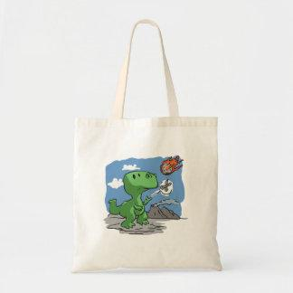 Extinction of dinosaurs funny cartoon tote bag
