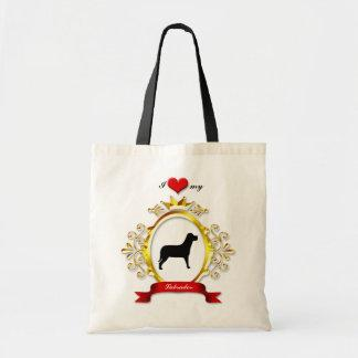 Fancy Gold Frame Red Heart Ribbon Dog Silhouette Tote Bags