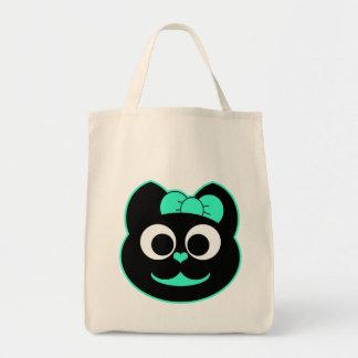 Female Kitty Cat green Canvas Bags