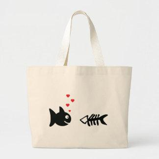 fish and bone in love icon tote bags