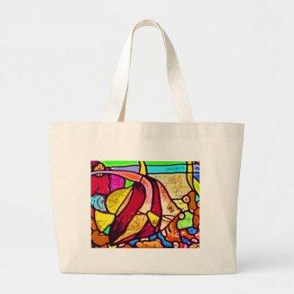 Fish on Reef, Stained Glass (ct) Tote Bags