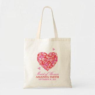 Floral Heart Personalized Wedding Party Tote Bag