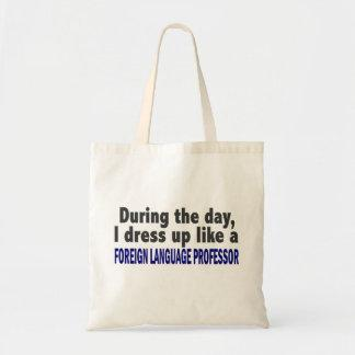 Foreign Language Professor During The Day Canvas Bags