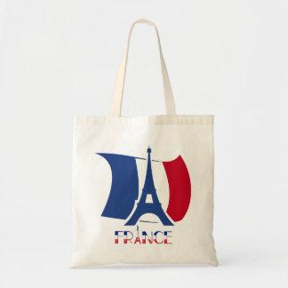 France flag with Eiffel Tower blue, red, white Tote Bag