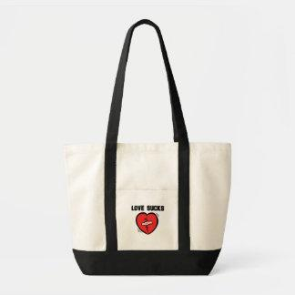 Funny Love Sucks Heart with Band Aid Tote Bags