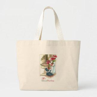 Girls with Potted Plants Vintage Christmas Tote Bag