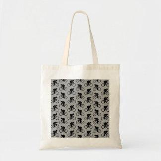 Gray and Black Bicycle Pattern. Tote Bag
