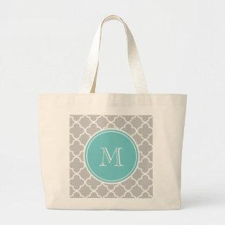 Gray Quatrefoil Pattern, Teal Monogram Canvas Bag