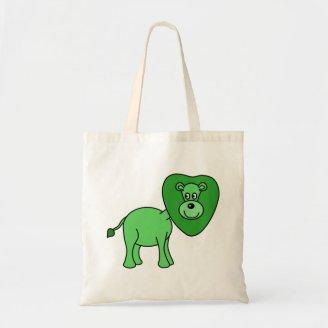 Green Lion Cartoon Tote Bags