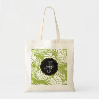 Green Palm Leaves Rainforest Pattern Monogram Tote Bag
