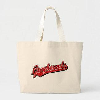 Greyhounds script logo in red bags