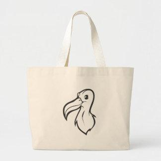 Happy Albatross Bird in Black and White Canvas Bag