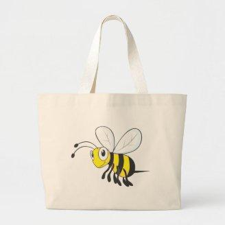 Happy Flying Bee Insect Tote Bags