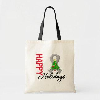 Happy Holidays Brain Cancer Awareness Tote Bag