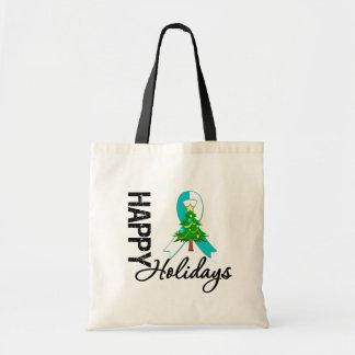 Happy Holidays Cervical Cancer Awareness Canvas Bags