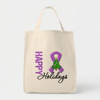 Happy Holidays Leiomyosarcoma Cancer Awareness Canvas Bag
