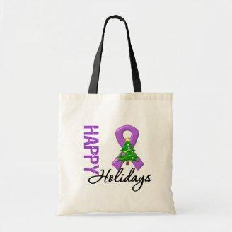 Happy Holidays Pancreatic Cancer Awareness Canvas Bags
