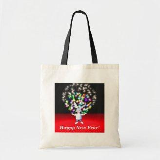 Happy New Year Rabbit and Fireworks Tote Bag