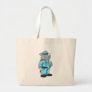 Happy Police Rhinoceros Tote Bags