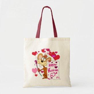 Happy Valentines Day mouse Tote Bags