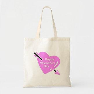 Happy Valentines Day Pink Heart Tote Bag