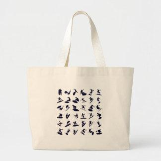 High Quality Surfer Silhouettes Large Tote Bag