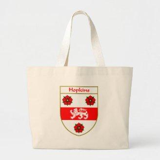 Hopkins Coat of Arms/Family Crest Tote Bags