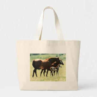 Horses and Foal Picture Canvas Bags