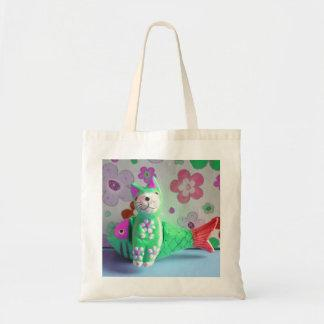 I Like To Sit Awhile And Think - Green Cat Tote Bag