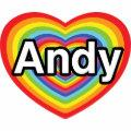 I love Andy, rainbow heart