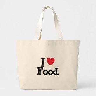 I love Food heart custom personalized Canvas Bag