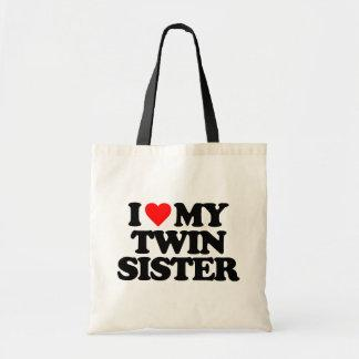 I LOVE MY TWIN SISTER TOTE BAGS