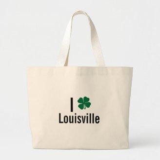 I love (shamrock) Louisville St Patricks Day Tote Bags