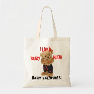 I LUV U BEARY MUCH Valentines Day Bag