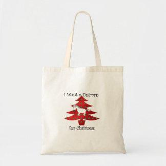 I want a unicorn for Christmas on red Bag