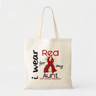 I Wear Red For My Aunt 43 Heart Disease Canvas Bag