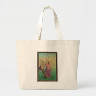 INDIAN PAINTING-LADY IN THE PEACOCK GARDEN TOTE BAG