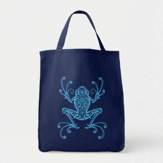 Intricate Blue Tree Frog Canvas Bag