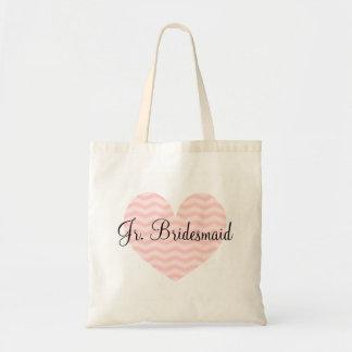 Jr Bridesmaid pink heart chevron pattern tote bag