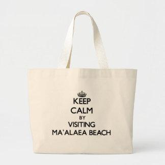 Keep calm by visiting Ma'Alaea Beach Hawaii Canvas Bags
