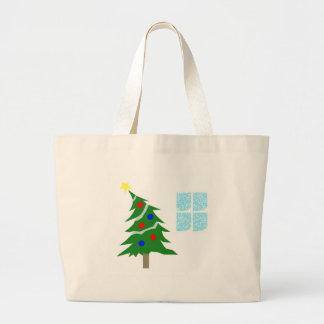 Leaning Christmas Tree Canvas Bags