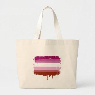 LESBIAN FLAG DRIPPING TOTE BAGS