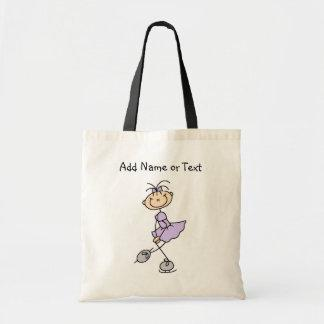 Lilac Stick Figure Girl Ice Skater Customized Bag